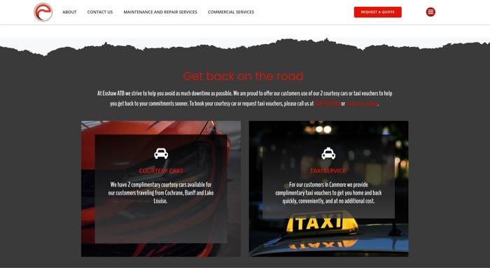 exshaw auto truck and bus website design